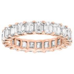 18 Karat Rose Gold Emerald Eternity Diamond Ring '4 1/2 Carat'