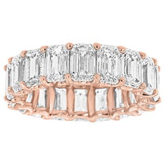 18 Karat Rose Gold Emerald Eternity Diamond Ring '9 1/2 Carat'