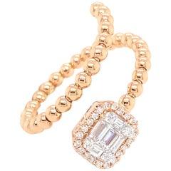 18 Karat Rose Gold Emerald Illusion Diamond Spiral Beads Fashion Ring