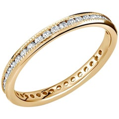 18 Karat Rose Gold Eternity Diamond Milgrain Wedding Band Weighing 0.50 Carat