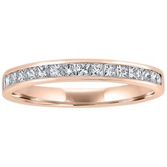 18 Karat Rose Gold Eternity Ring Band Half Set with Princess Cut Diamonds