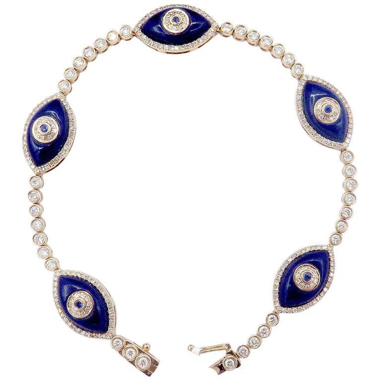 18 Karat Rose Gold Evil Eye Diamond Bracelet