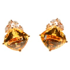 18 Karat Rose Gold Faceted Citrine 13.19 Carat and Diamond Earrings, Studs