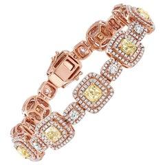18 Karat Rose Gold Fancy Yellow Diamond Bracelet, GIA Certified