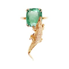 18 Karat Rose Gold Fashion Ring with 3.48 Carats Emerald