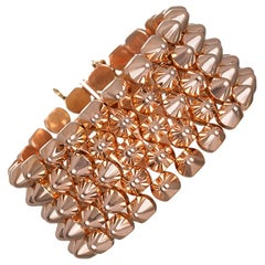 18 Karat Rose Gold Flexible Retro Link Cuff Bracelet