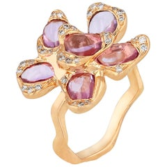18 Karat Rose Gold Flower Ring with Pink Sapphires