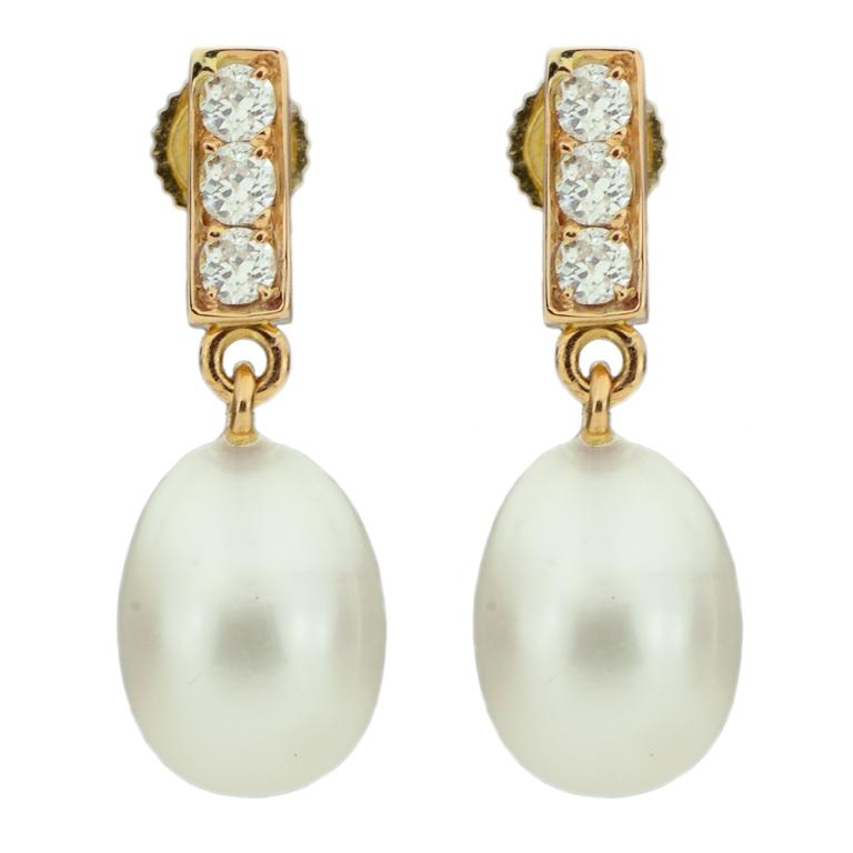 18 Karat Rose Gold Freshwater Pearls and Diamond Earrings For Sale