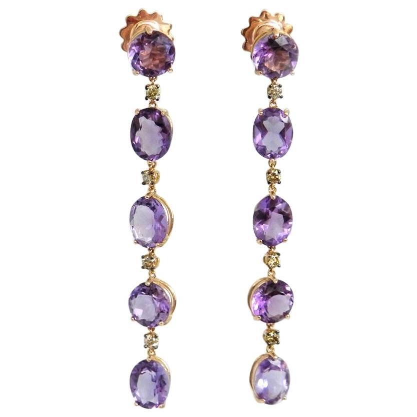 18 Karat Rose Gold Garavelli Earrings with Brown Diamonds and Amethysts