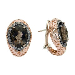 18 Karat Rose Gold Garavelli Earrings with Brown Diamonds and Smoky Quartz