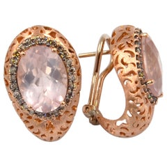 18 Karat Rose Gold Garavelli Earrings with Rose Quartz and Brown Diamonds