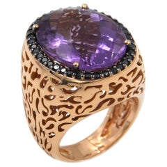 18 Karat Rose Gold Garavelli Ring with Amethyst and Black Diamonds