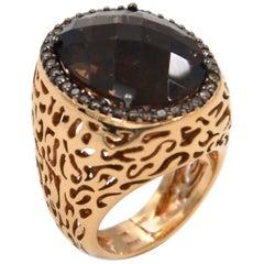 18 Karat Rose Gold Garavelli Ring with Smoky Quartz and Brown Diamonds