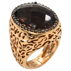 18 Karat Rose Gold Garavelli Ring with Smoky Quartz and Brown Diamonds
