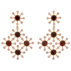 18 Karat Rose Gold Garnet and Pink Sapphire Earrings