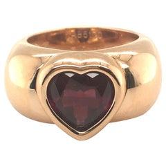 18 Karat Rose Gold Garnet Heart Ring by Piaget