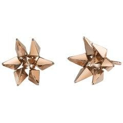 18 Karat Rose Gold Geometric Hedgehog Studs
