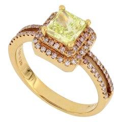 18 Karat Rose Gold GIA Certified Green Yellow Diamond Fashion Ring