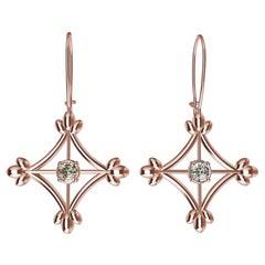 18 Karat Rose Gold GIA Diamonds Rhombus Flower Dangle Earrings