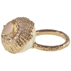 18 Karat Rose Gold Gr. 10.50, Citrine Carat 3.14, Diamonds Carat 0.28, Ring