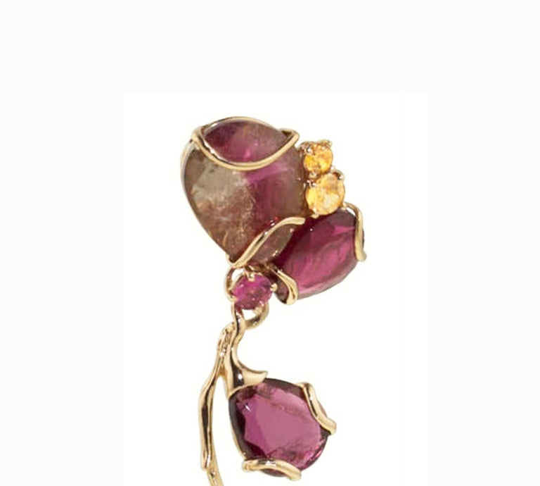 One of a kind Statement Earrings. The inspiration of the earrings comes from the beauty of the Brazilian watermelon Tourmaline Carat 67,20 and Pink carat 0,45 Tourmaline the cut of the Tourmaline is portrait cut, This particular cut exalts the