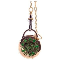 18 Karat Rose Gold Gr. 13.50, Green Enamel, Blond Horn, Necklace