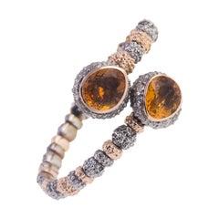 18 Karat Rose Gold Gr. 15.90, Stainless Steel, Citrine Carat Gr. 10.40, Bracelet