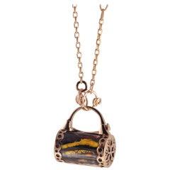 18 Karat Rose Gold Gr. 20.20, Tiger's Eye, Necklace