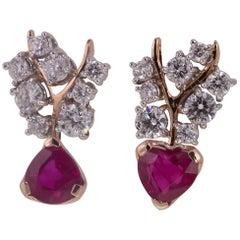18 Karat Rose Gold gr. 5.27, White Diamond Carat 0.97, Rubie Carat 2.07, Earring