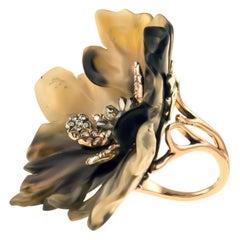 18 Karat Rose Gold Gr. 6.30, 925 Silver Gr. 3.50, Diamonds Carat 2.02, Ring
