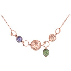 18 Karat Rose Gold Gr. 7.55, 925 Silver Gr. 2.80, Sapphire Carat 2.00, Necklace