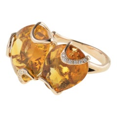 18 Karat Rose Gold Gr. 8.10, Diamond Carat 0.09, Citrine Carat 22.50 Ring