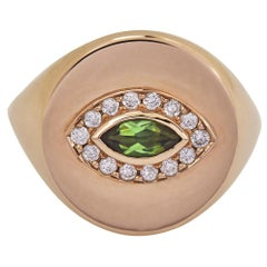18 Karat Recycled Rose Gold, Green Tourmaline Marquise Cut and Diamond, Eye Ring