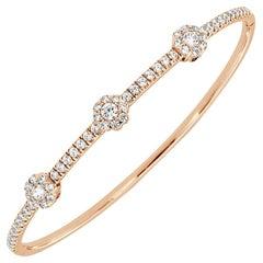 18 Karat Rose Gold Halo Diamond Bangle '1 1/2 Carat'