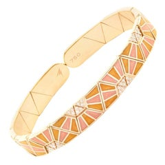 18 Karat Rose Gold Hand Painted Continuity Binary Duo-Color Bracelet by Alessa