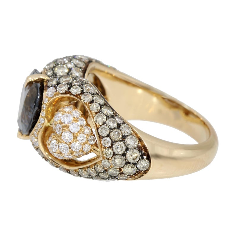 Heart Cut 18 Karat Rose Gold Heart Blue Spinel and Diamond Engagement Ring For Sale