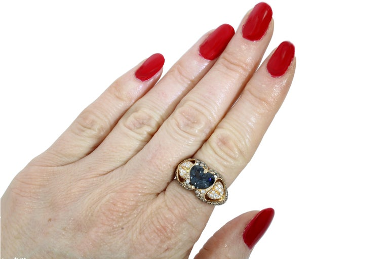 Women's 18 Karat Rose Gold Heart Blue Spinel and Diamond Engagement Ring For Sale