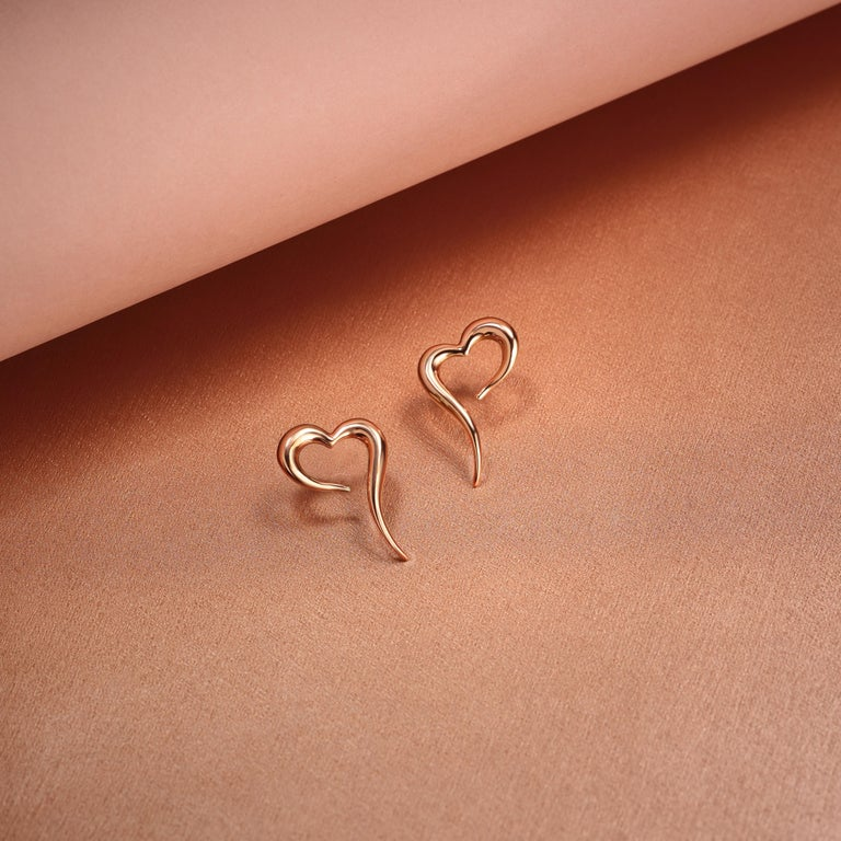 Women's 18 Karat Rose Gold Heart Shaped Earrings For Sale