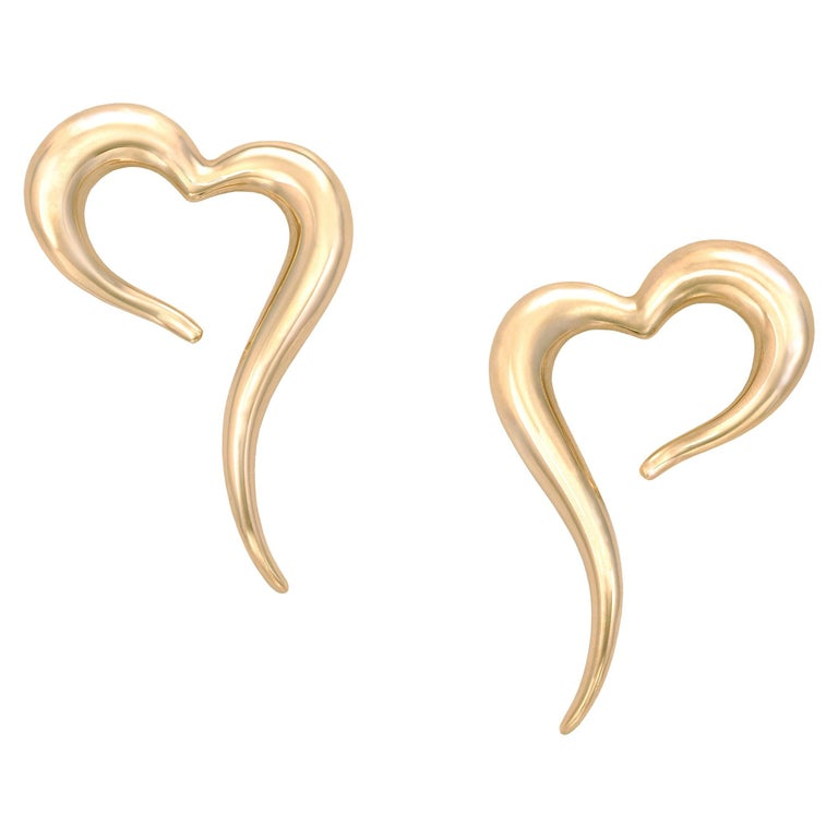 18 Karat Rose Gold Heart Shaped Earrings For Sale