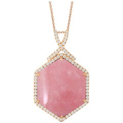 18 Karat Rose Gold Hexagon Pendant Necklace with Cabochon Pink Opal and Diamonds