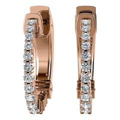 18 Karat Rose Gold Hoop Diamond Earrings '1/2 Carat'