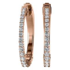 18 Karat Rose Gold Hoop Diamond Earrings '1 Carat'