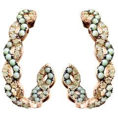 18 Karat Rose Gold Icy Yellow Diamonds and Lemon Chrysophrase Hoop Earrings