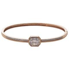 18 Karat Rose Gold Illusion Diamond Pave Bangle