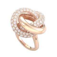 18 Karat Rose Gold Knotted Diamond Ring