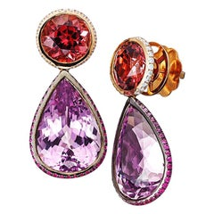 18 Karat Rose Gold Kunzite Pink Spinel Earrings Aenea Jewellery