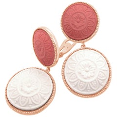 18 Karat Rose Gold Lava Cameo Earrings