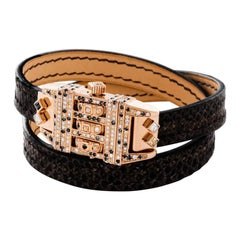 18 Karat Rose Gold Leather Wrap Confetti Pave Code Bracelet