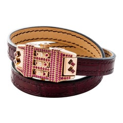 18 Karat Rose Gold Leather Wrap Ruby Pave Code Bracelet