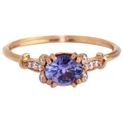 18 Karat Rose Gold Lilac Sapphire Diamond Engagement Ring